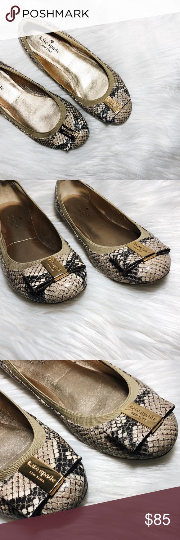f3bfdb46302f Kate Spade Snake Print Bow Tock Flats Size 7 Kate Spade  Tock  ballerina  flats