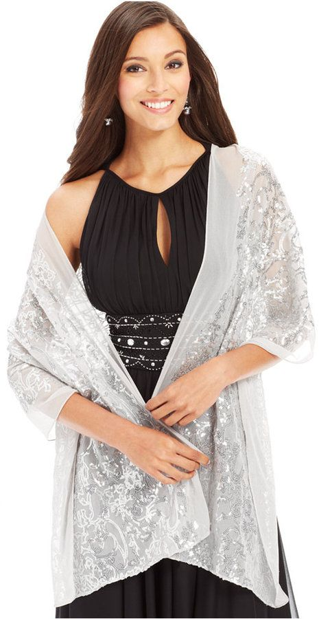 Cejon Sheer Floral Sequin Evening Wrap $38.00