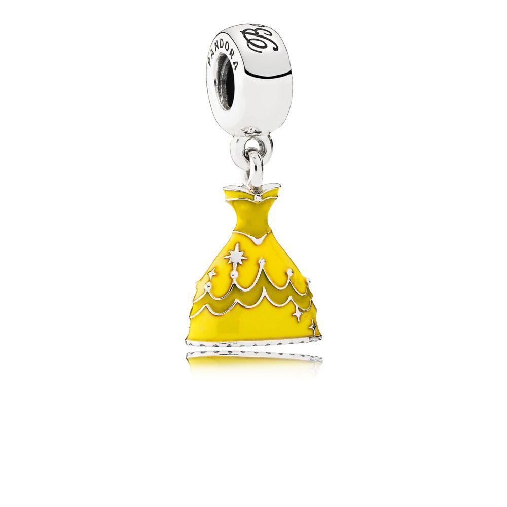 Disney Belle dress silver dangle with yellow enamel $65.00  $45.98