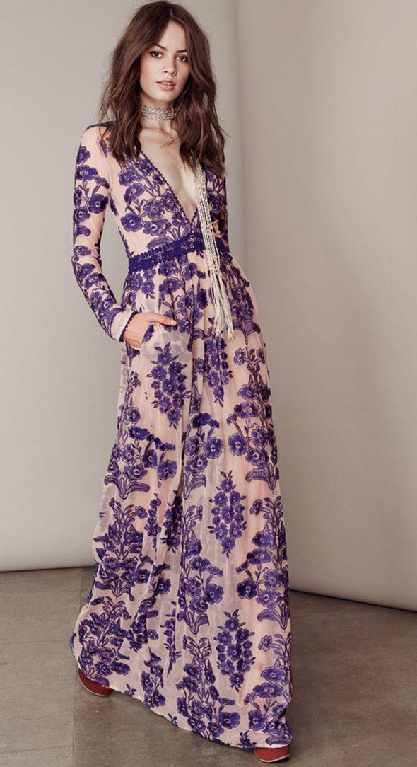 Robe Longue Maxi Lolita Boheme Chic Imprime Floral Fleuri Baroque