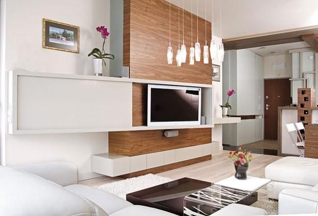 moderne tv wandpaneele in weiß und holz für luxus - moderne wandgestaltung fur wohnzimmer