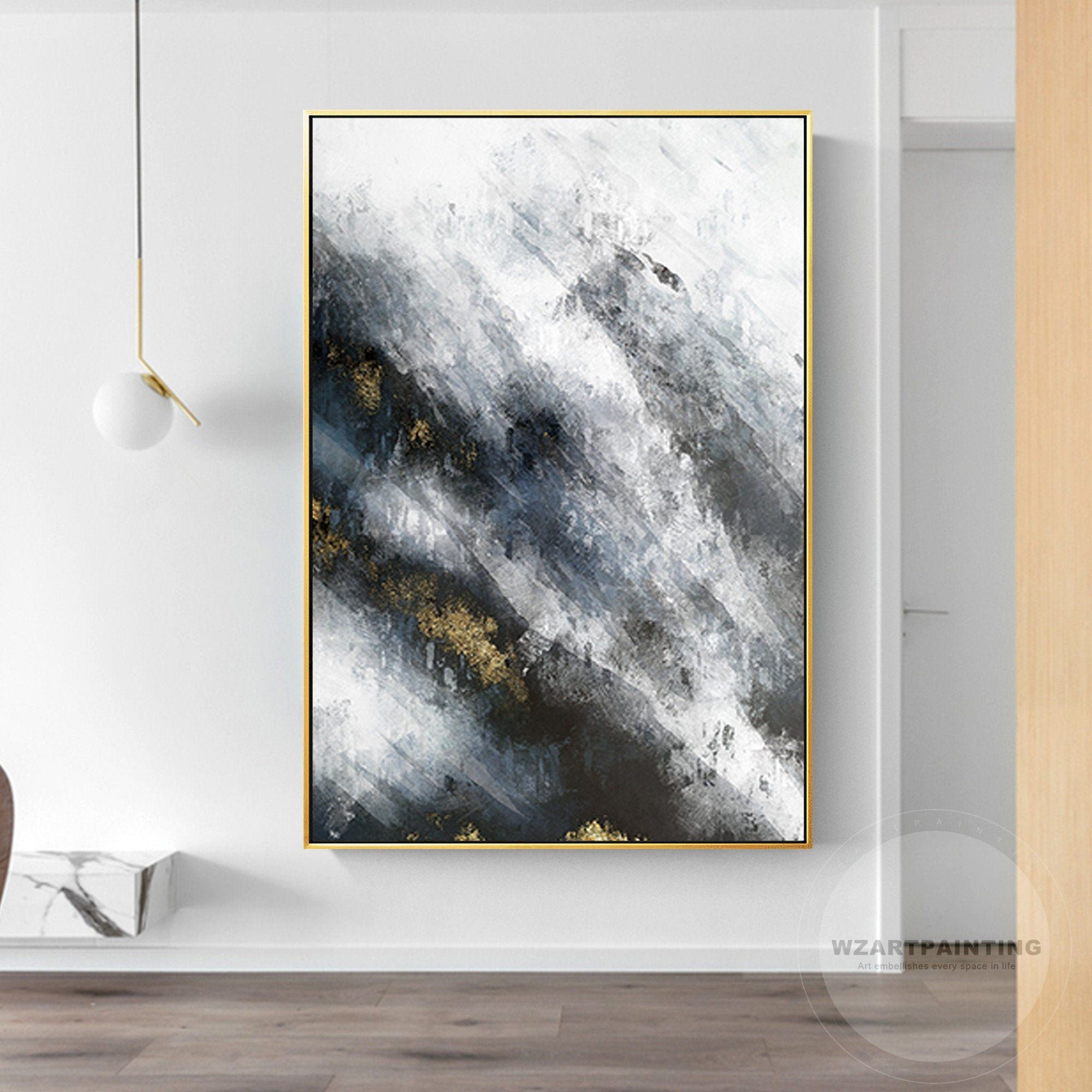Modern Abstract Gold Black White Print Painting On Canvas Large