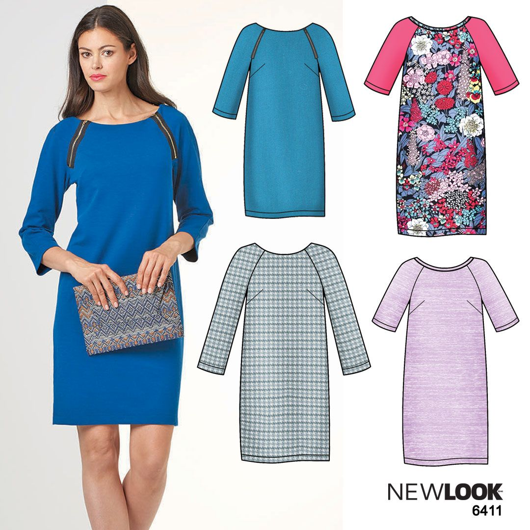 Easy-to-sew shift dress with raglan sleeves using NewLook pattern ...