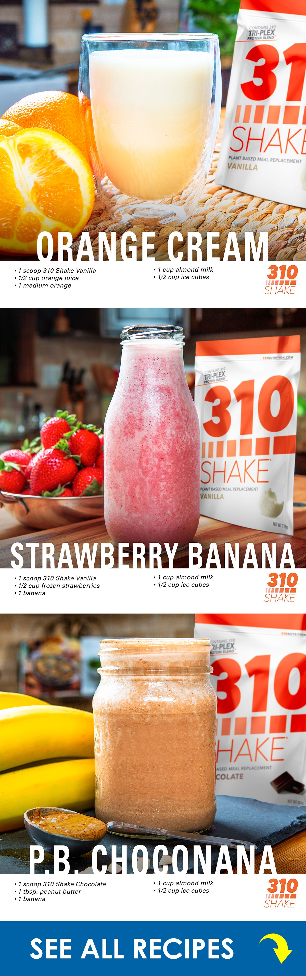 310 protein shakes 310 shake recipes, Shake recipes, 310