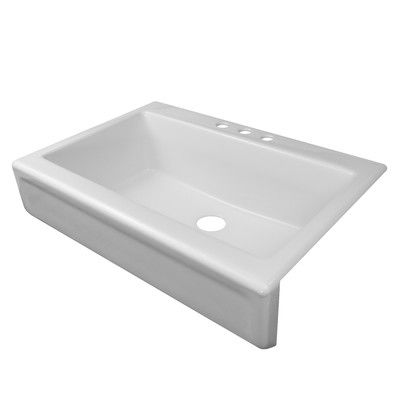 Lyons Industries Simplicity 34 5 X 25 Single Bowl Apron Front Top Mount Three Hole Kitchen Sink Top Mount Kitchen Sink Single Bowl Kitchen Sink Kitchen Sink