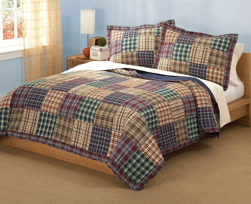 Plaid Patchwork Teen Boy Bedding Twin Full/Queen Quilt Bedding Set ... : king size quilt bedding - Adamdwight.com
