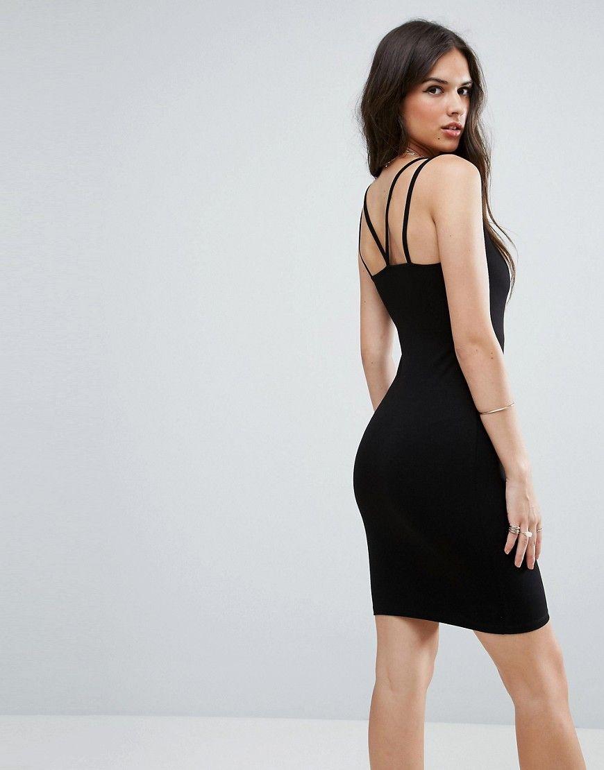 3f2bd4d5750d76 ASOS Mini Double Strap Bodycon Dress - Black Latest Fashion Clothes