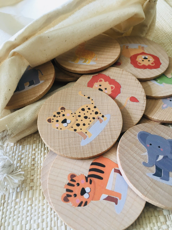 Wooden memory game Safari animals inspired on montessori | Etsy