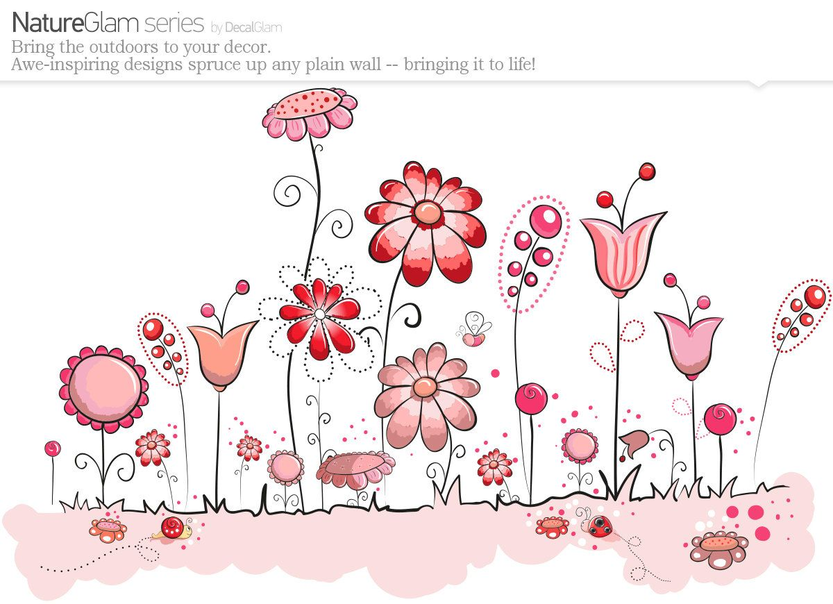 Childrens Wall Decal - Flower Garden Pink & Brown - Large Vinyl Art Sticker - For Nursery or Kids Girls Room Decal. $85.00, via Etsy.