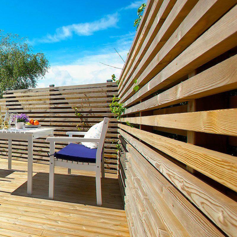 Kyllästetty aitarima, mitat 28 x 45 mm. Rimasta rakennat tyylikkäät säleiköt ja tuulensuojat terassille.