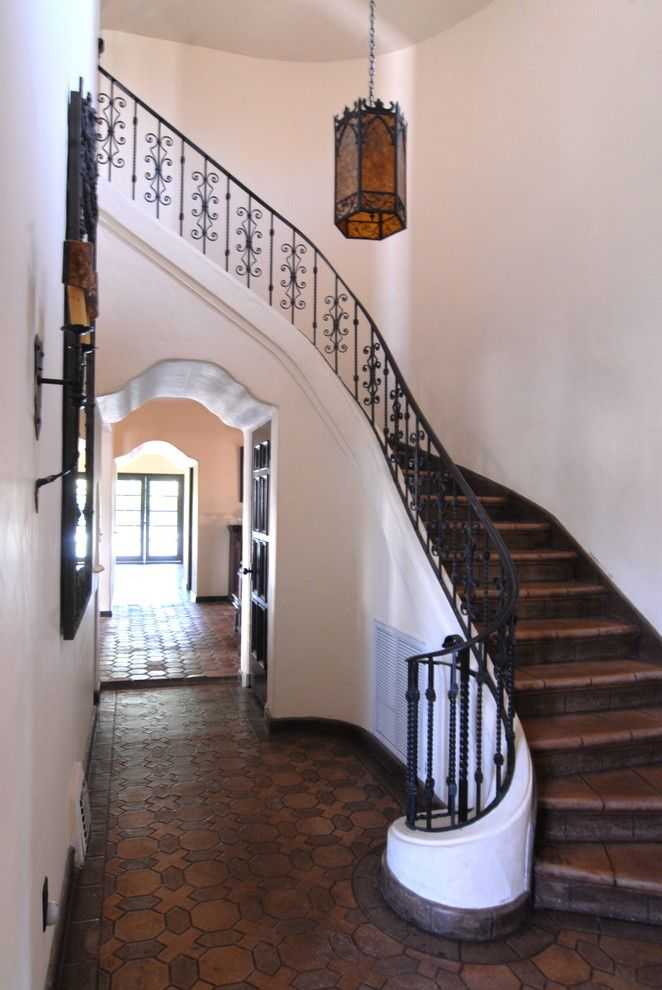 Wrought Iron Stair Railing Staircase Mediterranean With