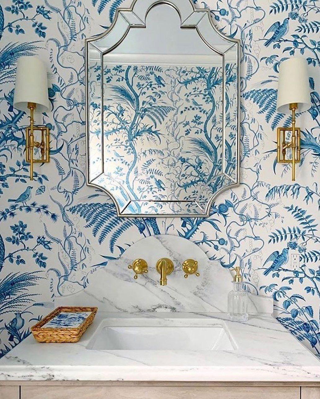 Brunschwig Fils Bird And Thistle Blue Wallpaper Powder Room Wallpaper Powder Room Bird And Thistle