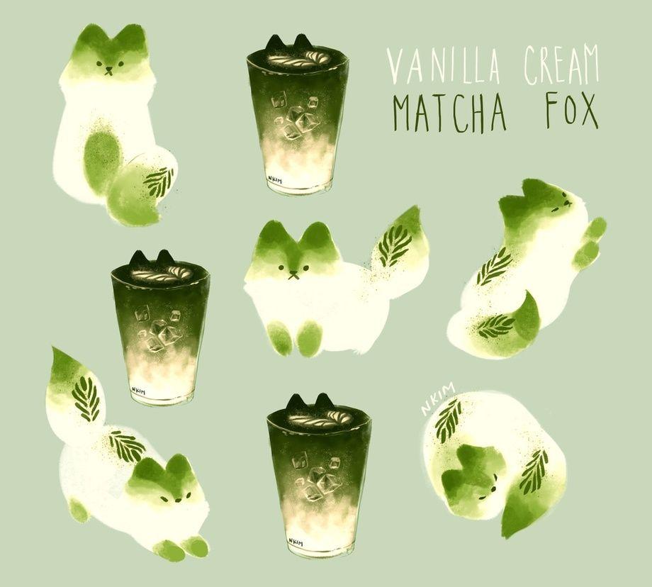 Vanilla Matcha Fox, an art print by Nadia Kim