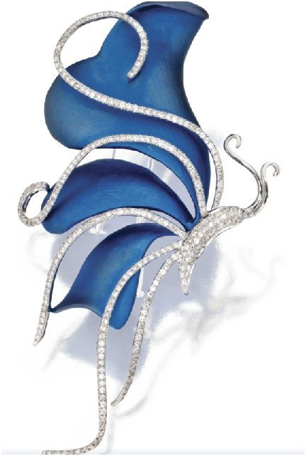 A blue titanium and diamond butterfly brooch