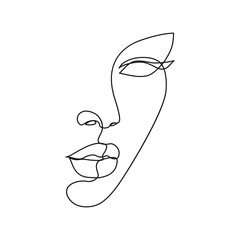 Abstract set with woman face, silhouette, floral elements one line drawing. | Premium Vector
