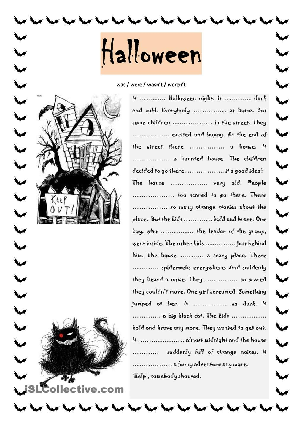 halloween was were esl worksheets of the day children the story and complete the gaps the past forms of the verb to be the exercise allows the learners to practise was and were in a fun way