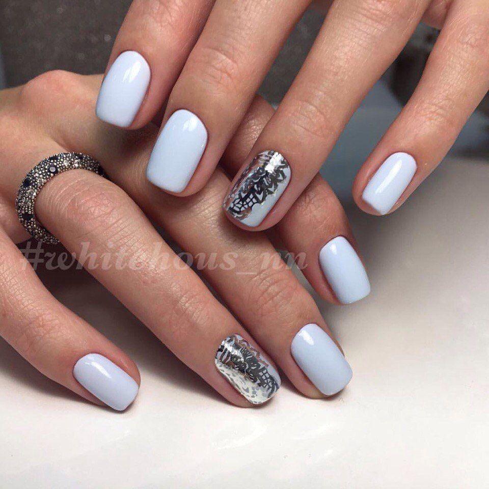 Голубой маникюр | ¤Nails¤ | Pinterest | Silver nail, Winter nails ...