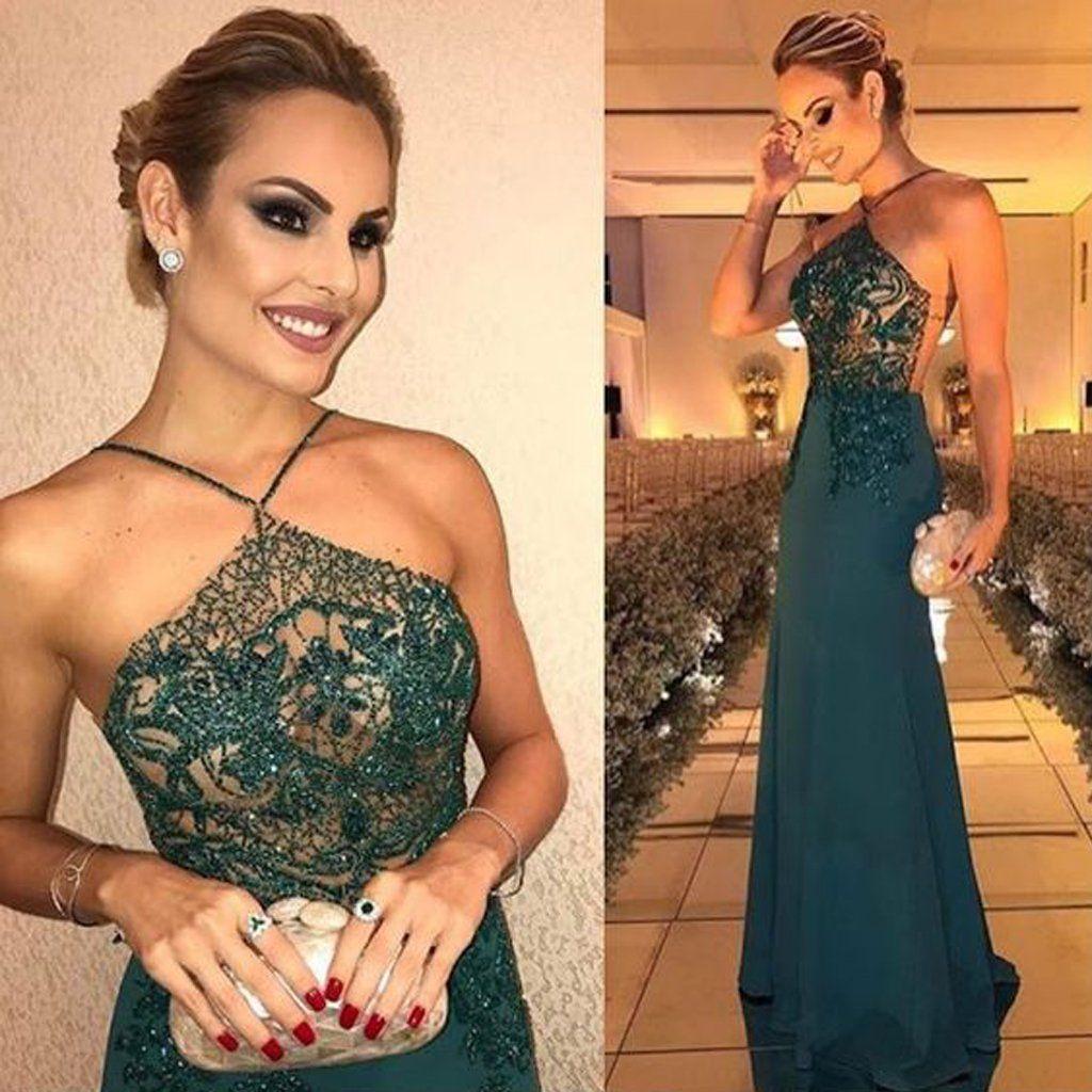Sexy seethrough backless prom dress mermaid beaded prom dress