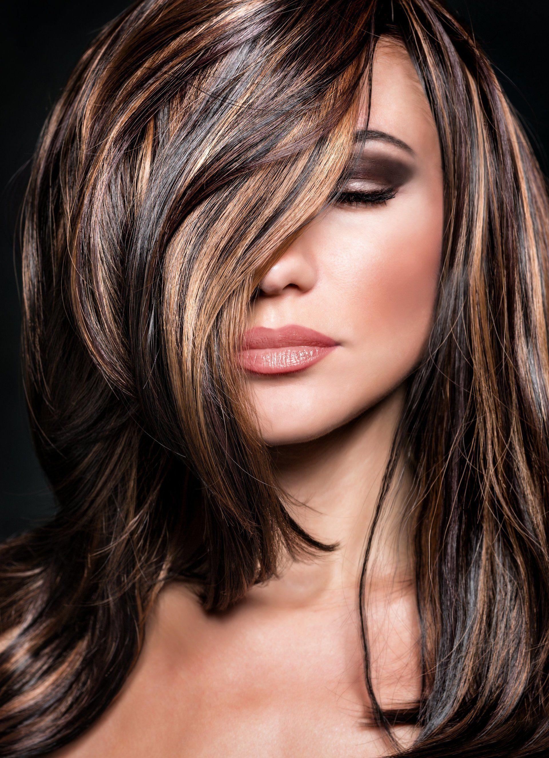 колорирование на черные волосы с челкой фото