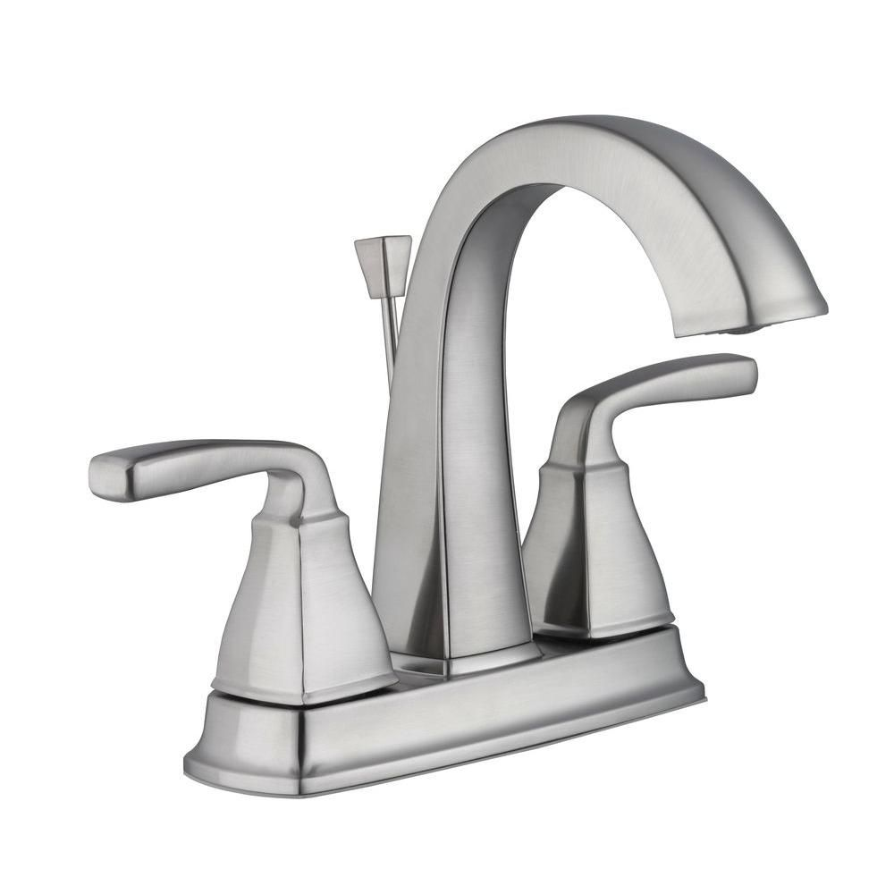 Pegasus Mason 4 In Centerset 2 Handle High Arc Bathroom Faucet In Brushed Nickel Faucet Bathroom Faucets Kitchen Bath