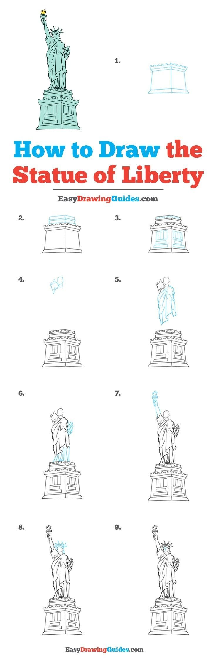 Statue Of Liberty Drawing Step By Step How to Draw the Statue of Liberty animals Easy