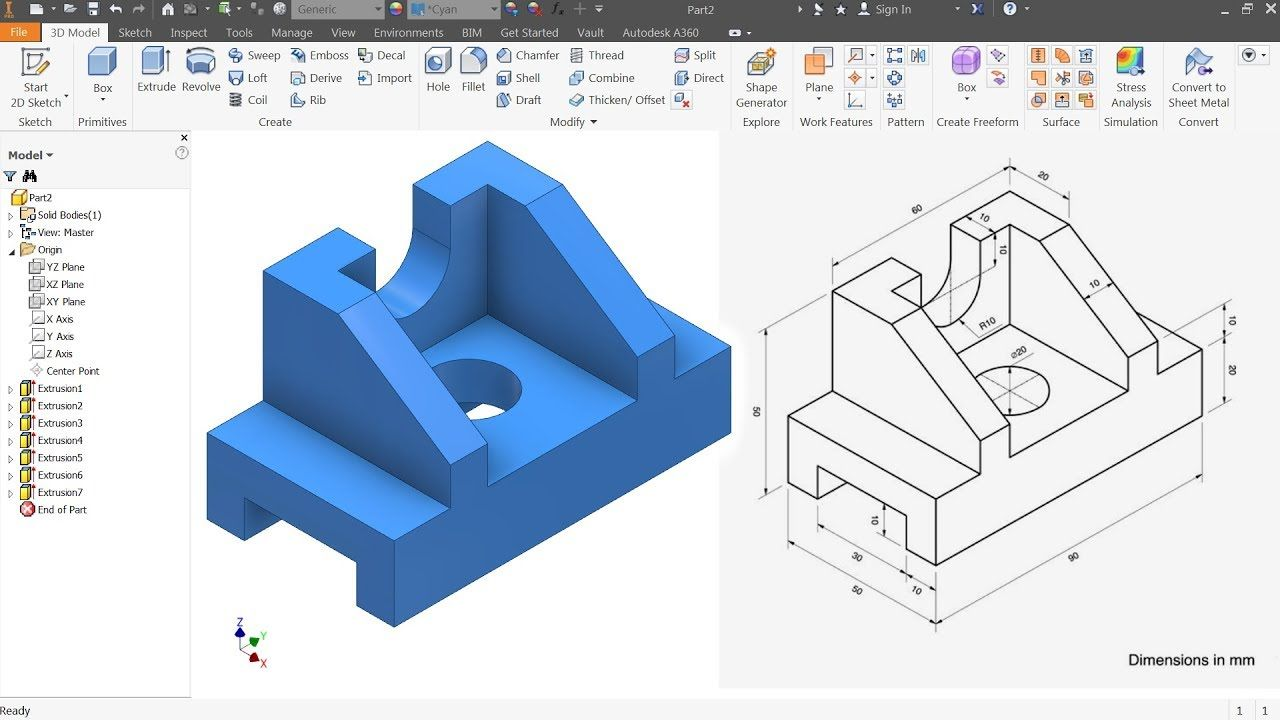 Autodesk Inventor Tutorial For Beginners Exercise 7 Youtube Autodesk Inventor Autodesk Inventor