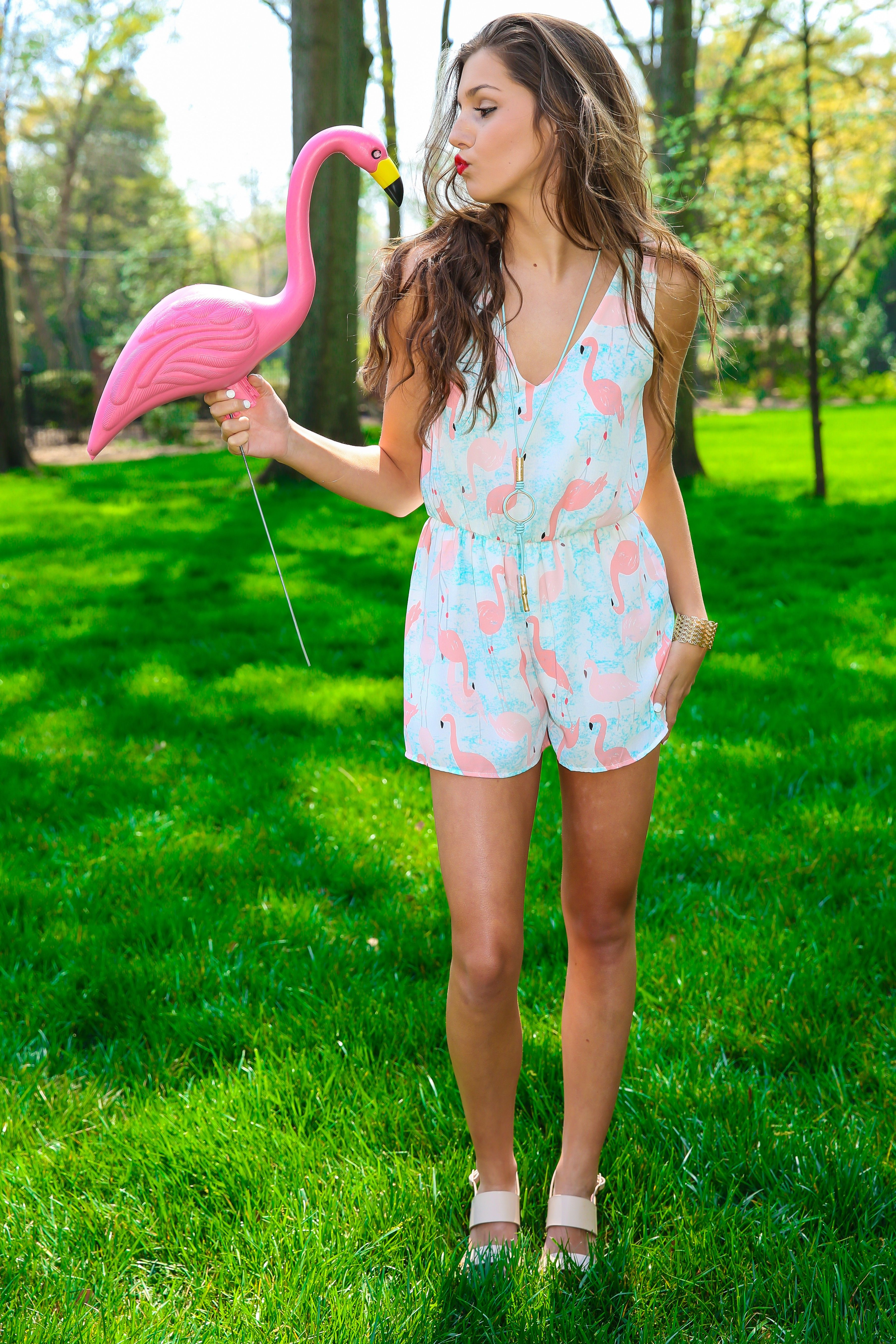 10cbc14473 white flamingo print romper playsuit by red dress boutique | Clothes ...
