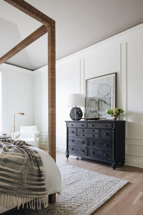 black vintage style dresser displaying a black beaded lamp on unique contemporary bedroom design ideas for more inspiration id=41974