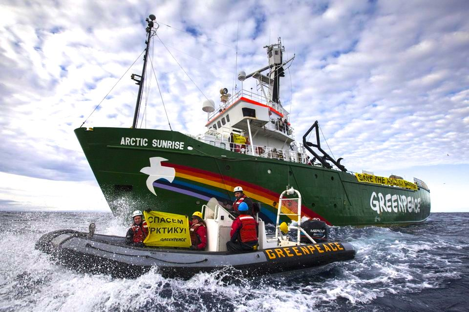 Armed Russian military stormed the Arctic Sunrise, a Greenpeace ship protesting against Gazprom oil exploitation in remote Arctic waters, arresting 25.