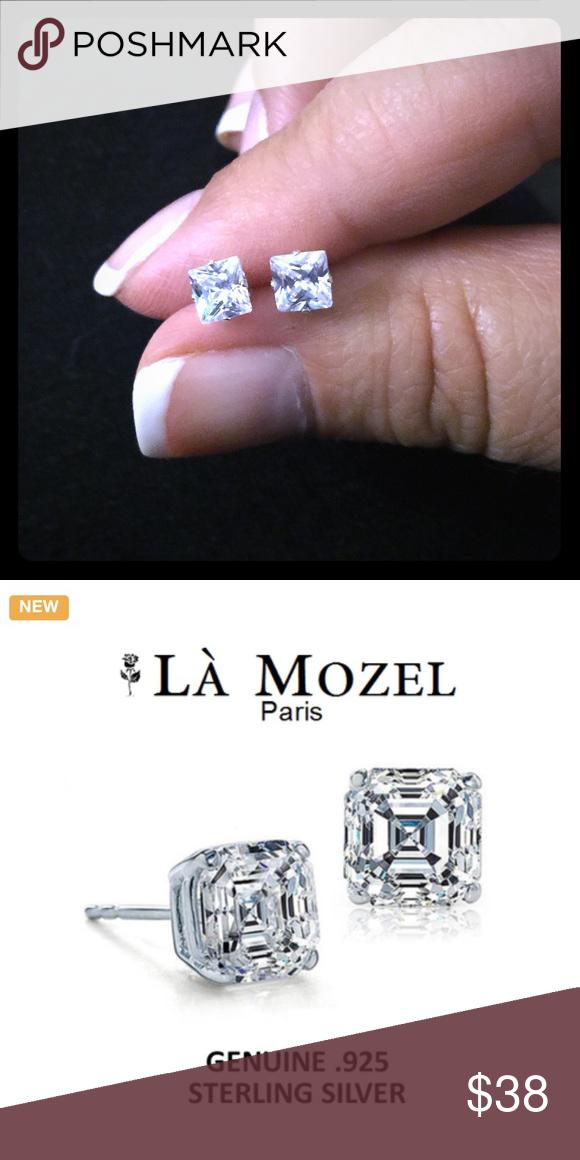 0ef2d256e582b New💕 La Mozel 2 Carat AAA CZ Sterling Silver Earr La Mozel Asscher ...