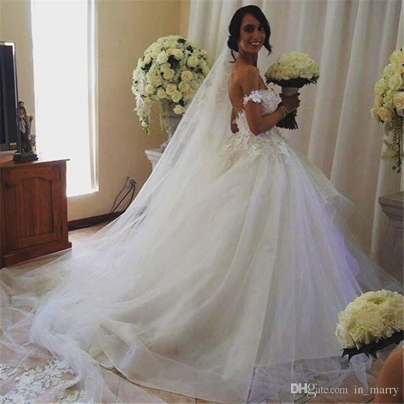 Popular Bellanaija D Floral Lace Applique Arabic Wedding Dresses Ball Gown Off Shoulder Cascading Tulle Ruffle Skirt African Dubai Bridal Gown