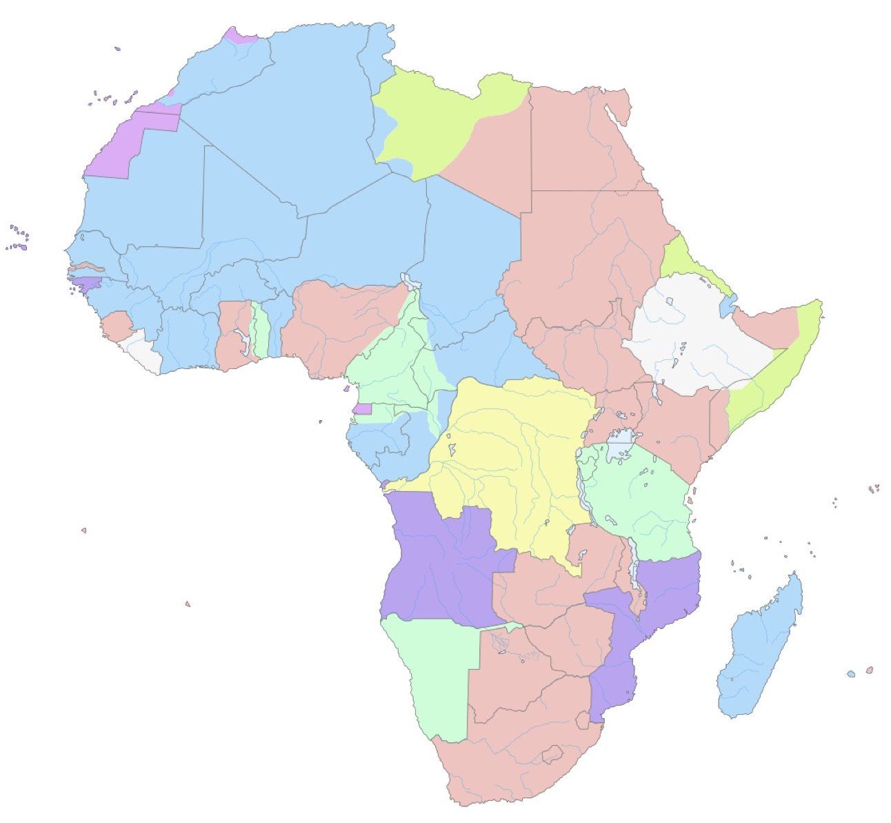 European colonies in Africa in 1913. Blue: France, pink: Britain, light green: Germany, dark green: Italy, light purple: Spain, dark purple: Portugal, yellow: Belgium, white: independent. Lines reflect current borders