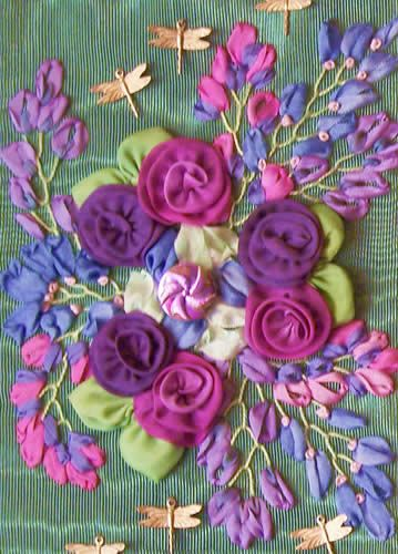 Elegant Additions Images Silk Ribbon Embroidery With Worked Flowers And Leaves