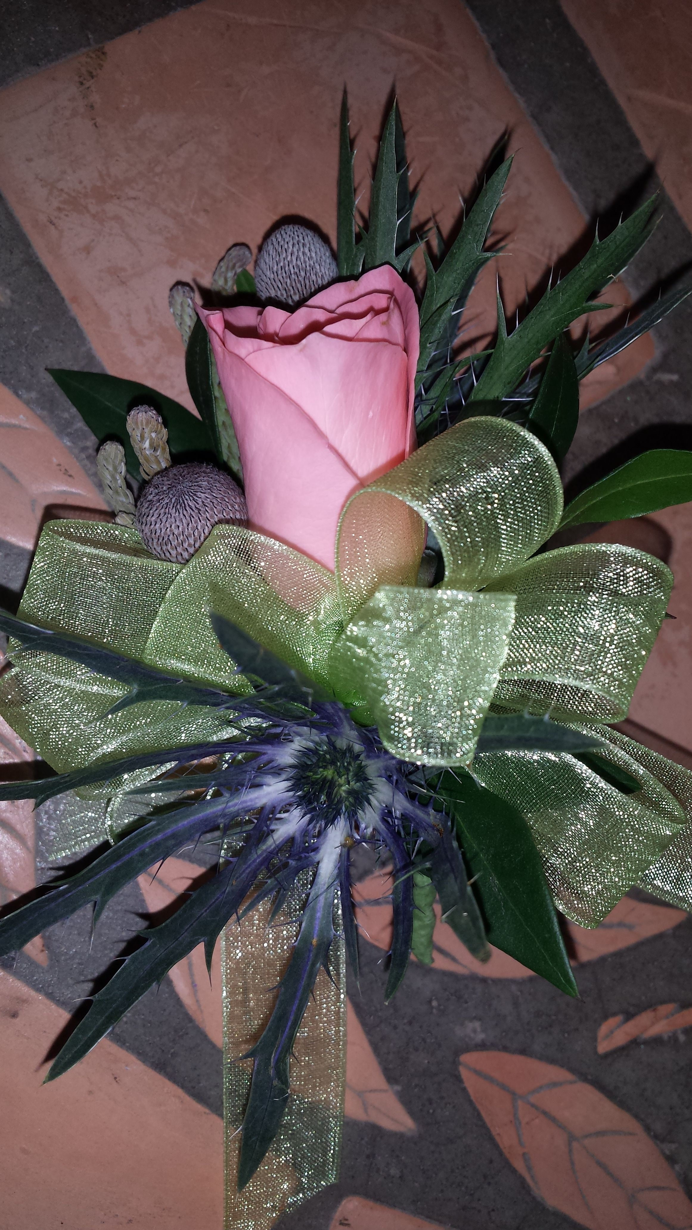 Corsage thistle silver brunea and peach spray rose