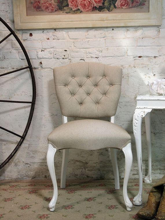 Painted Cottage Chic Shabby Tufted French by paintedcottages, $425.00