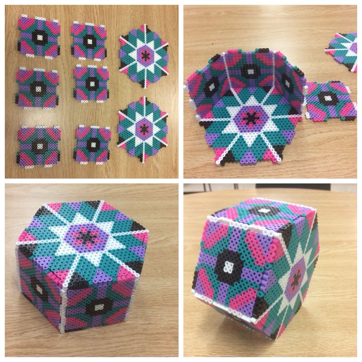 3-D box, caja, hexagono, template, diseño, molde, plantilla, abalorios,  calor, hamma, hama, perler, bead… | Hamma beads ideas, Diy perler beads,  Hama beads patternsPinterest