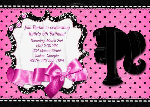 Barbie Silhouette Invitation by graciegirldesigns77 on Etsy 1200