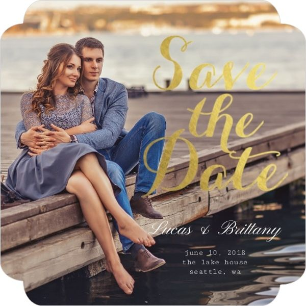 Elegant Gold Foil Save The Date Photo Card from PurpleTrail  #GoldSaveTheDateCards #GoldFoilSaveTheDateCards #PhotoSaveTheDateCards #GoldSaveTheDates #GoldWedding