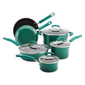 Rachael Ray 10 Piece Porcelain Cookware Set Green Target