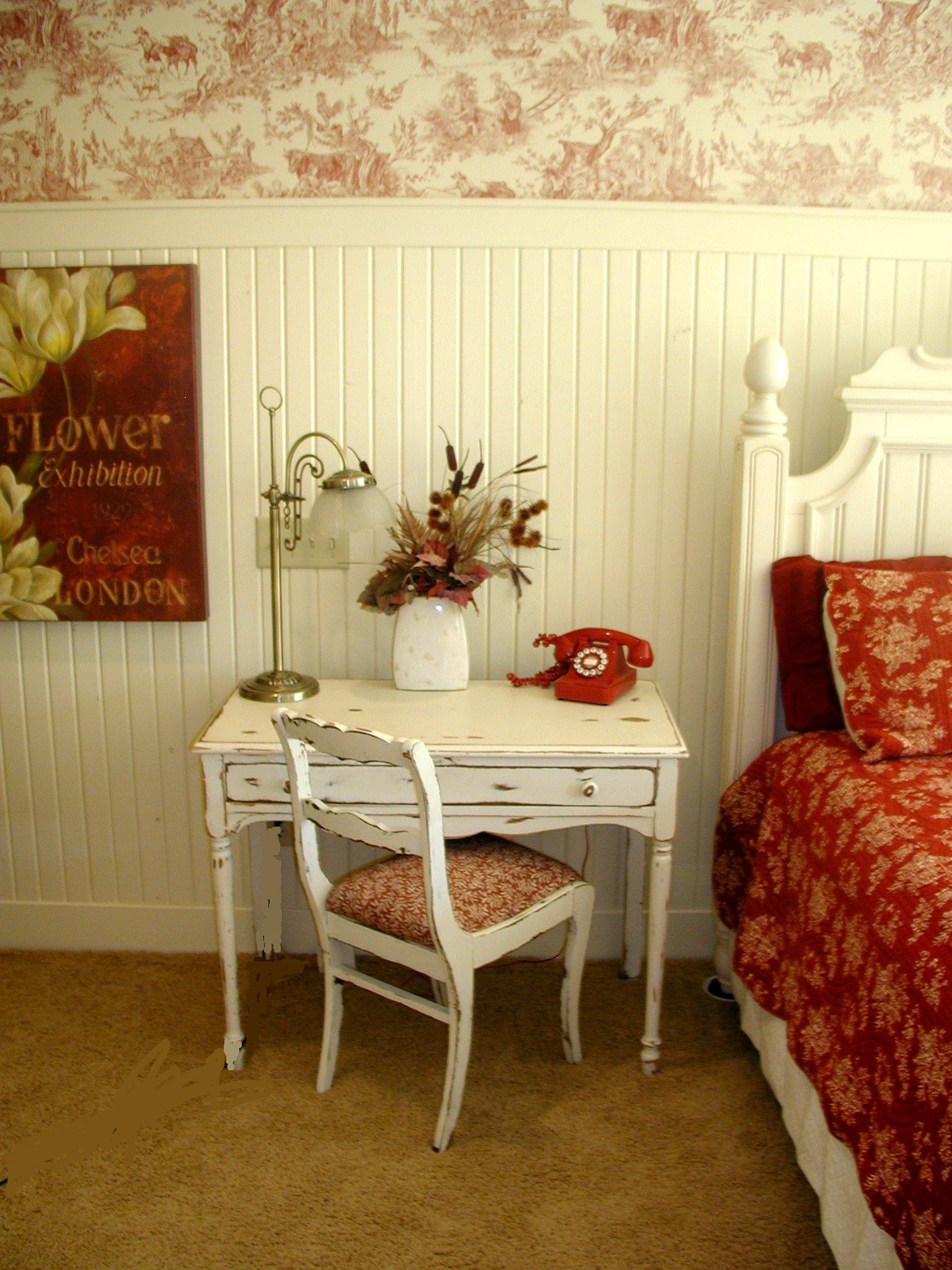 red and white decor love the white wainscoting and toile