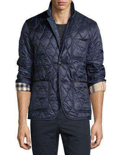 Burberry Lambskin Trim Quilted Blazer In Navy Modesens Burberry Leather Jacket Leather Jacket Men Mens Outdoor Jackets