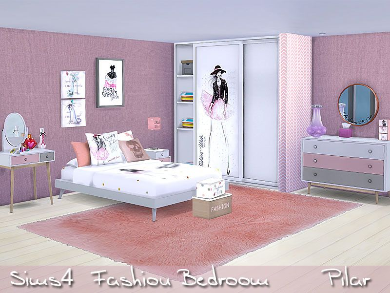 Modern bedroom with a touch of blush found in tsr category for Bedroom designs sims 4