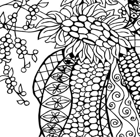 Indian Corn Adult coloring page | Coloring pages, Adult ...