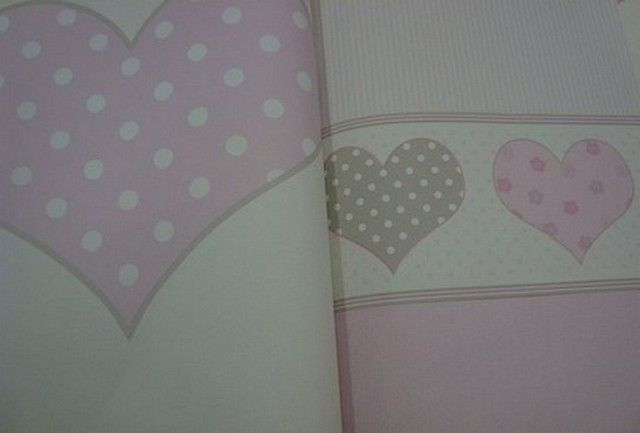 Behang Met Stippen : Meisjes behang roze wit stippen hartjes creme behang marit