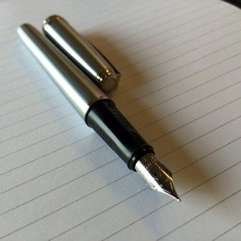 Medium Nib Sheaffer Prelude Glossy Black Lacquer Fountain Pen with Nickle Trim