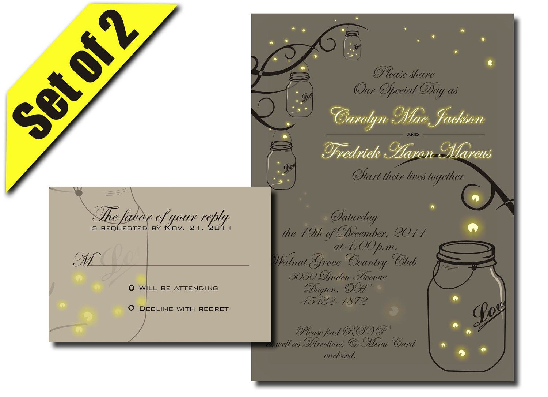 Mason Jar Wedding Invitation RSVP With Fireflies  Digital DIY Printable.  $34.99, Via Etsy