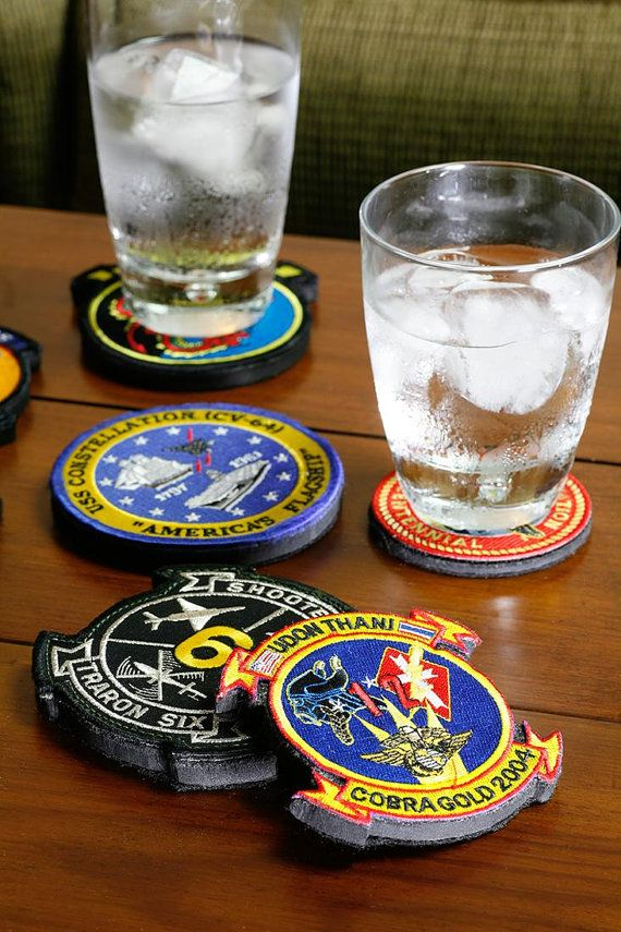 extraordinary inspiration drink coaster. Custom uniform patch drink coasters  Perfect gift memento for military police fire