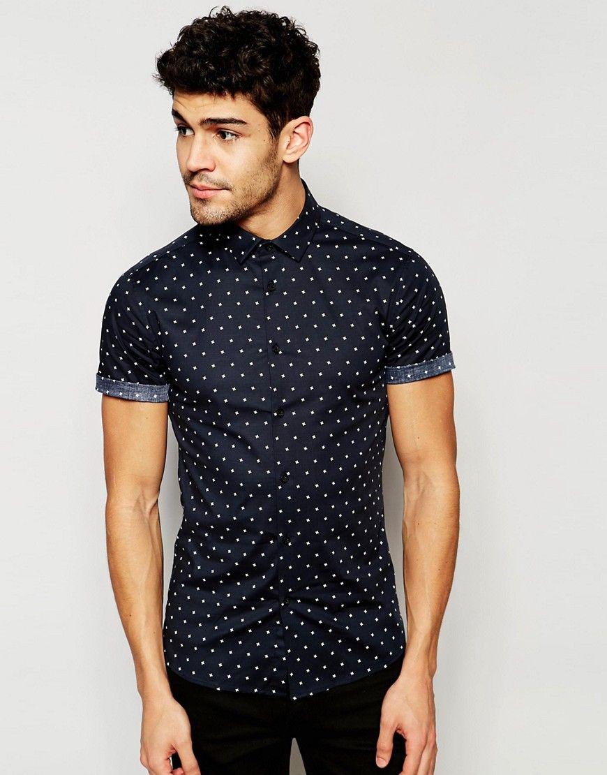 ASOS Skinny Shirt With Star Print In Black at asos.com