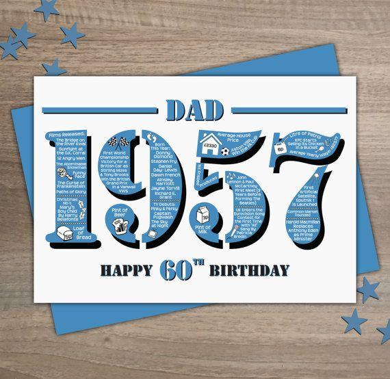 Happy 60th Birthday Mum Greetings Card Born In 1961 British Etsy Dad Birthday Card Happy 60th Birthday Birthday Card Sayings