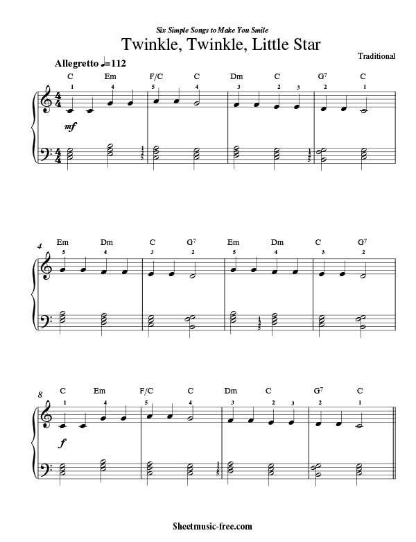 Twinkle Twinkle Little Star Sheet Music Traditional Twinkle